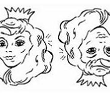 Le même dessin vu d'un autre angle transforme la princesse en vieiile dame (et réciproquement)